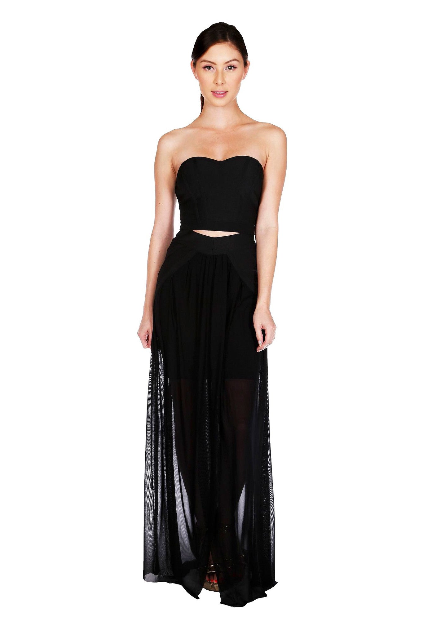 Naughty Grl Sweetheart Two Piece Maxi Dress - Black - NaughtyGrl
