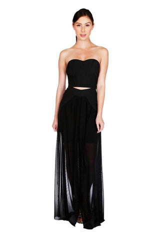 Shop the latest matched set outfits for a style statement - Naughty Grl Sweetheart Two Piece Maxi Dress - Black