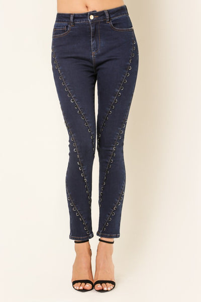 Ring Embellished Denim Pants - NaughtyGrl