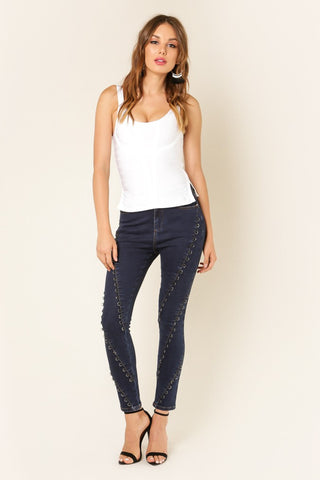 Designer inexpensive online boutique for women - Ring Embellished Denim Pants