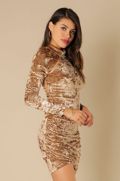 Long Sleeve Keyhole Open Velvet Dress - NaughtyGrl