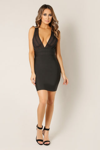 Designer inexpensive online boutique for women - Sheer Front Criss Cross Strappy Back Dress