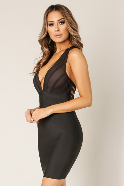 Sheer Front Criss Cross Strappy Back Dress - NaughtyGrl