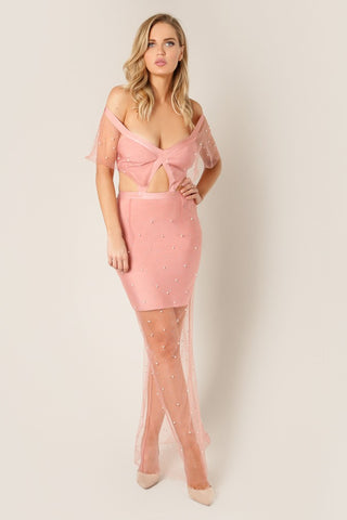 Sweetheart Embroidered Lace x Bandage Dress