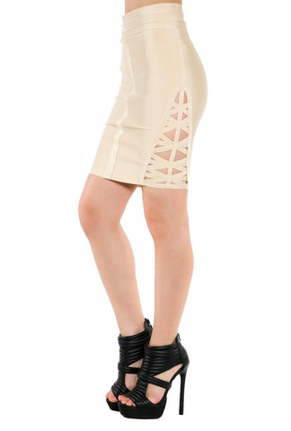 Mini Skirt With Side Cage Detail - NaughtyGrl