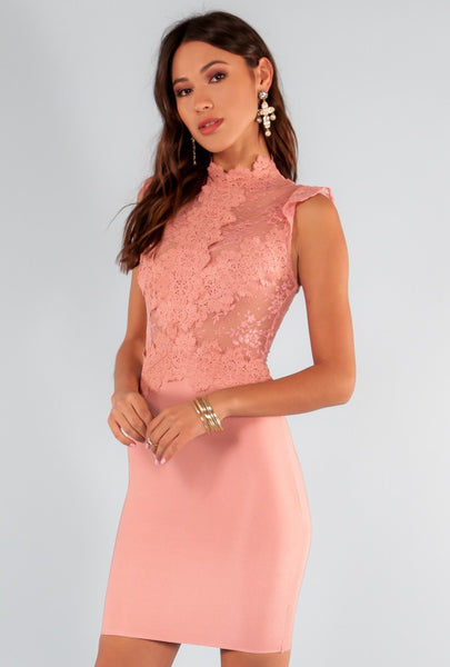 Scallop Sheer Lace Bodycon Dress