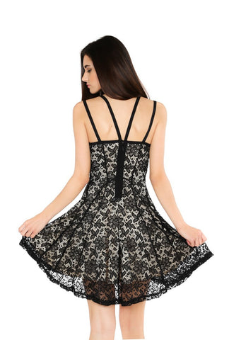 Designer inexpensive online boutique for women - Naughty Grl Flirty Embroidered Dress - Black & Nude