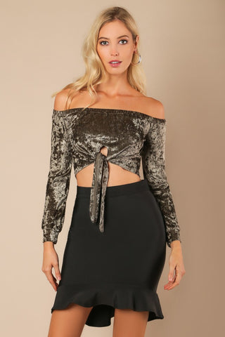 Mock Neck Sequins Crop Top