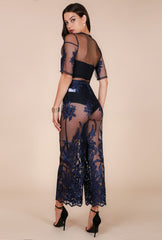 Naughty Grl  Lace Evening Gown - Dark Blue - NaughtyGrl