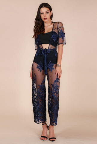 Designer inexpensive online boutique for women - Naughty Grl  Lace Evening Gown - Dark Blue
