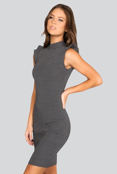 Naughty Grl Trendy Knitted Dress - Charcoal Heather - NaughtyGrl