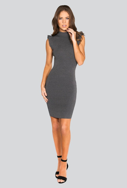Naughty Grl Trendy Knitted Dress - Charcoal Heather