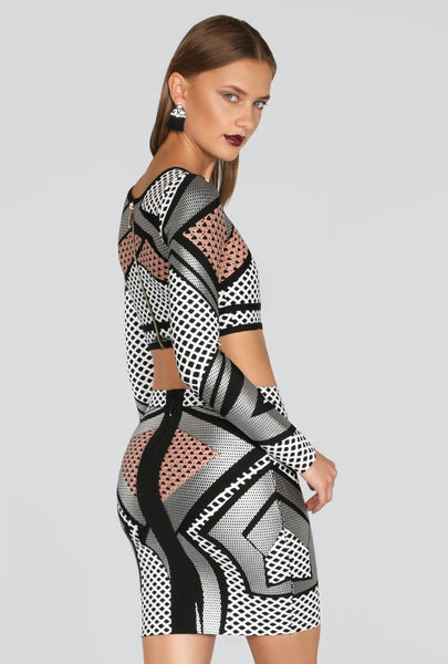Naughty Grl Exotic Two Piece Bandage Dress - Black Multi - NaughtyGrl