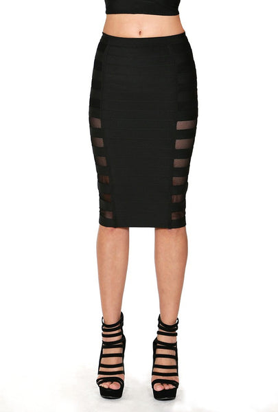 Hurry Up Pencil Skirt W/ Side Open Mesh Detail - NaughtyGrl