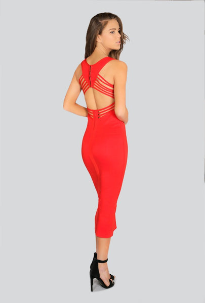 Naughty Grl Open Back Midi Dress - Red - NaughtyGrl