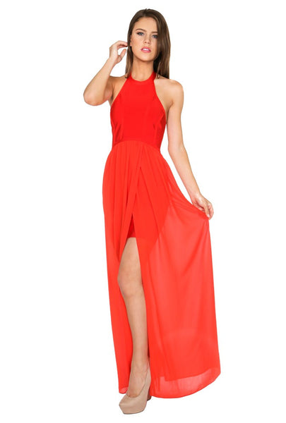 Naughty Grl Flowing Maxi Dress - Red - NaughtyGrl
