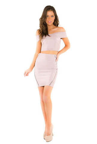 Naughty Grl High Waisted Bandage Skirt With Feathers - Black
