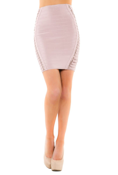 Unique Bandage Skirt With Lace Up Side Detail - NaughtyGrl