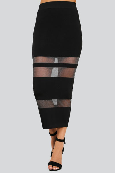 Naughty Grl Sheer Midi Skirt - Black - NaughtyGrl
