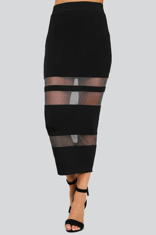 Designer inexpensive online boutique for women - Naughty Grl Sheer Midi Skirt - Black