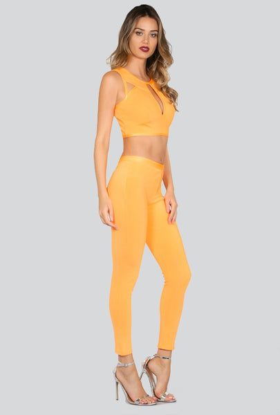Naughty Grl Two Piece Bodycon Set - Acid Orange - NaughtyGrl