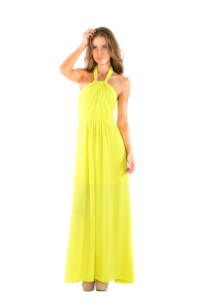 Naughty Grl Halter Chiffon Maxi Dress - Lemon - NaughtyGrl