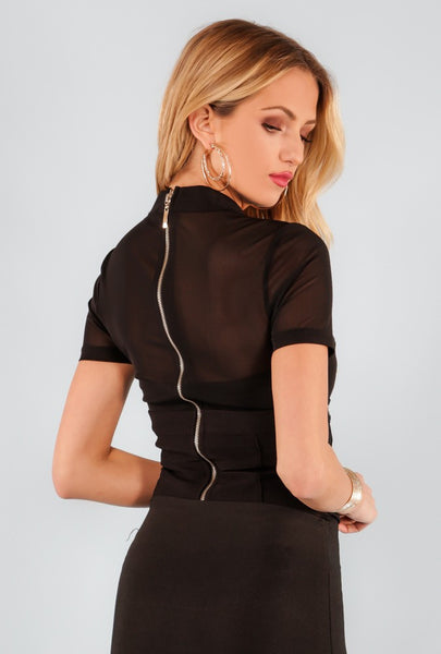 Lace Up Waist Belted Mesh Bodysuit