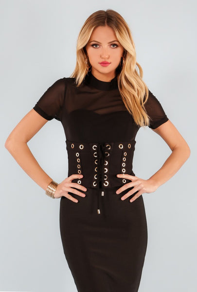 Lace Up Waist Belted Mesh Bodysuit - NaughtyGrl