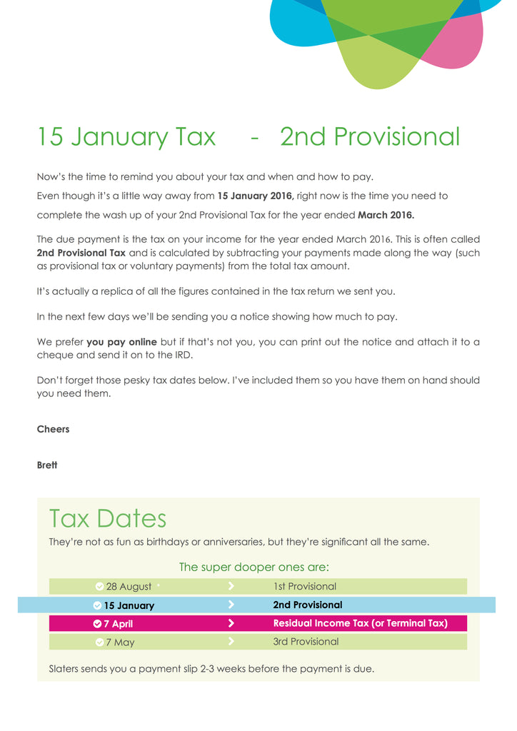 15 Jan 2nd Provisional How to Pay page 2 Slater Chartered Accountants