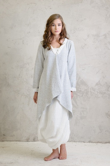 Boucle stretch drape coat with Linen balloon dress