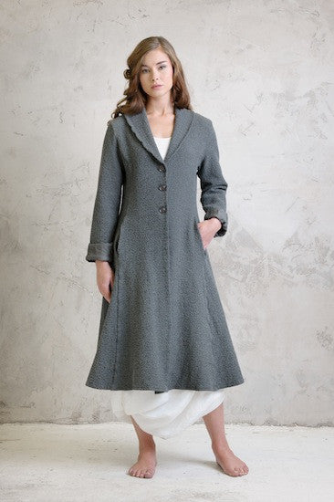 Boucle stretch coat with Linen balloon dress