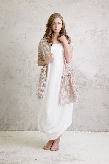 Shadow stripe shawl with Linen balloon dress