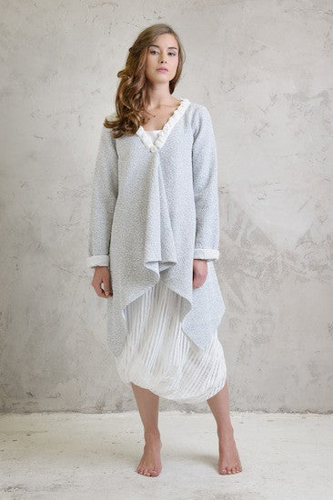 Boucle stretch drape coat, Reversible camisole and Shadow stripe balloon skirt