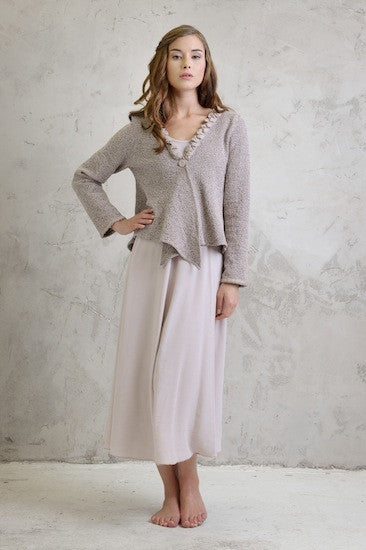 Boucle stretch jacket and Maxi crepe dress