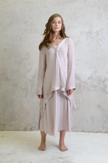 Georgette drape coat and Maxi crepe dress