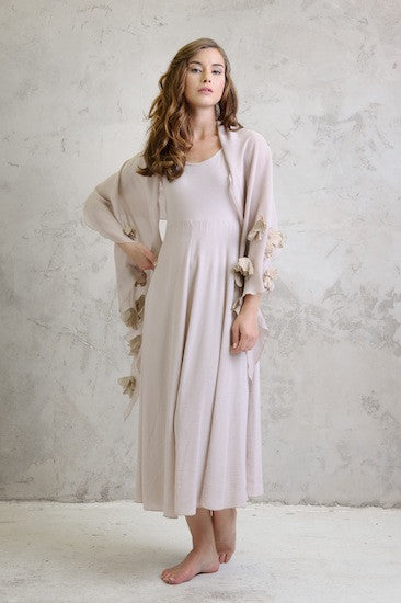 Maxi crepe dress with Georgette shawl