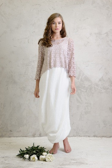 Linen balloon dress with Lace over-top