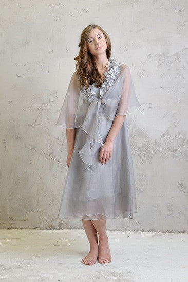 Organza double layer dress with Organza cape
