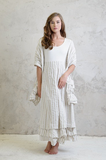 Memory stripe maxi dress with Memory stripe shawl