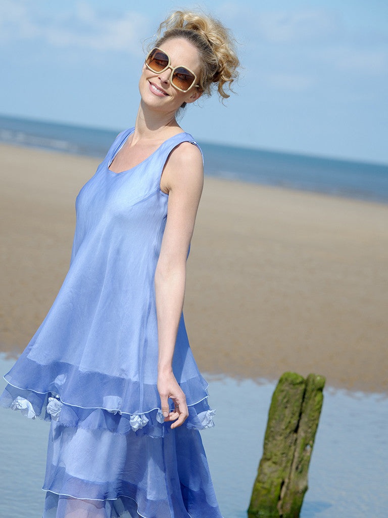 ORGANZA DRESS AND ORGANZA TUNIC WITH FLOWERS