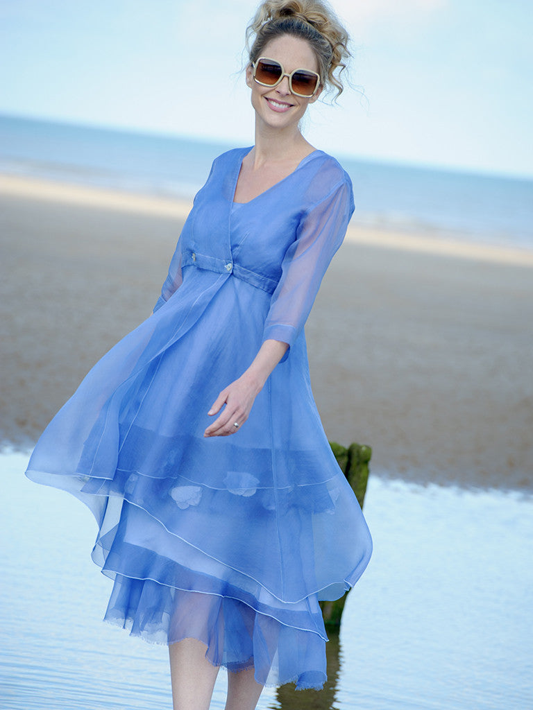 ORGANZA COAT, ORGANZA DRESS AND ORGANZA TUNIC WITH FLOWERS