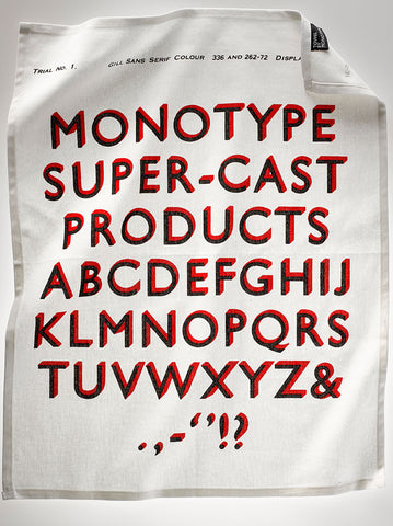Gill Sans Shadow tea towel