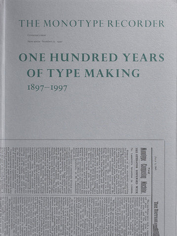 The Monotype Recorder No. 10 — Centenary