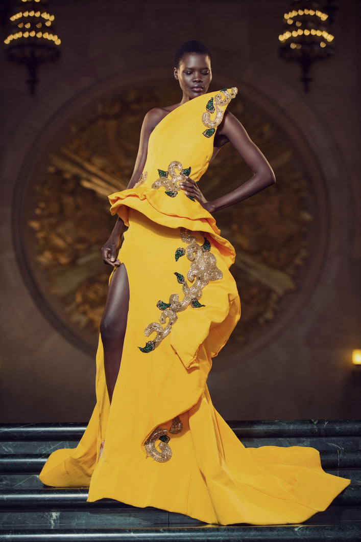 Yellow Knit Structured Ruffle Slit Gown