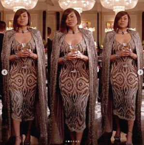 Gun Metal Heavily Beaded Fringe Dress / Jacket