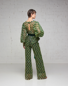 Green and Gold Sequin Lace Jumpsuit