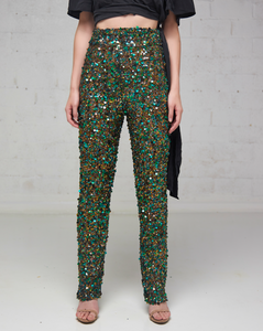 Heavily Beaded Emerald Pant