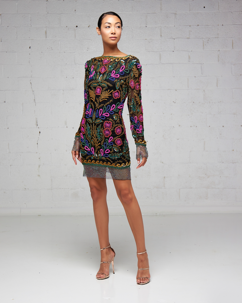 Multi-color Floral Beaded Mini Dress