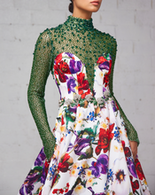 Floral Print Gown with Beaded Neckline and Sleeves