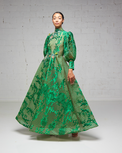 Emerald High Neck Lace Gown